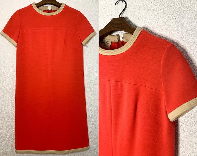Vintage 60s orange knit shift dress by Leslie Fay Knits, Sz S