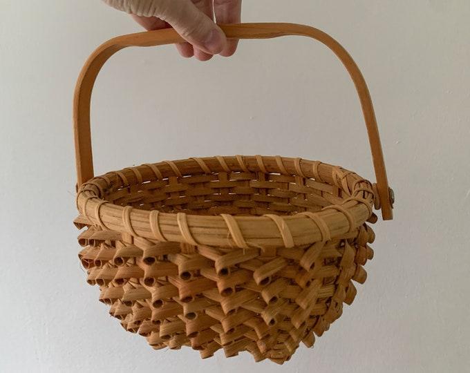 Vintage small decorative handled basket, boho decor, farmhouse decor