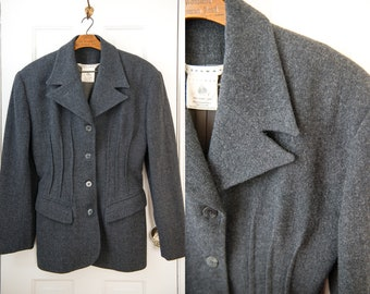 Vintage gray wool fitted blazer with strong dart details, menswear inspired jacket, Leon Max, Size M