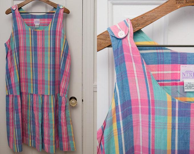 Vintage sleeveless house dress in pink and blue plaid, drop waist sundress, Size XL