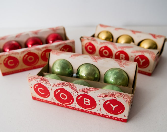 Vintage 1950s 18pc/3 boxes glass Christmas bulbs, mid century glass ornaments, made in the USA