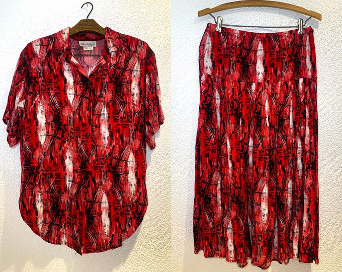 Vintage 90s 2pc red mod print skirt and blouse set by Risky Business, Size M/L