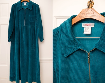 Vintage 1990s teal green corduroy long sleeve high-waisted dress, Size L/XL