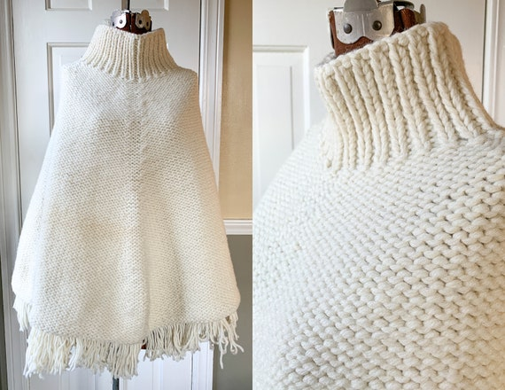 Vintage 1970s white hand knit turtleneck poncho wi