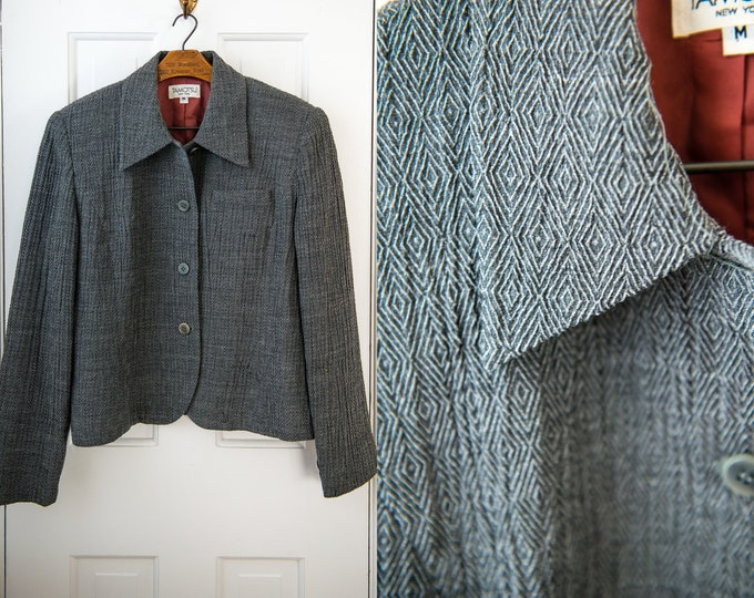 Vintage wool and silk gray boxy cropped blazer with textured fabric, Tamotsu, Size M