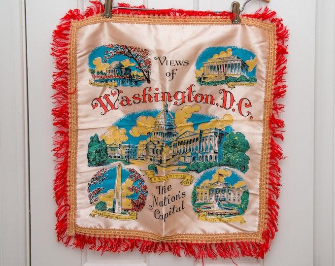 "Vintage 1950s Views of Washington DC satin souvenir pillow, pillow sham, 17"" x 18"""