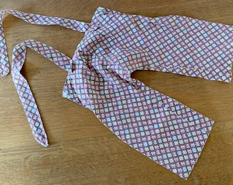 Vintage 1950s handmade cotton baby boy's pants with suspenders, 50s baby doll clothes, size 0-3 months