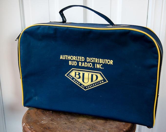 Vintage Bud Radio Inc distributor case or suitcase with zipper closure