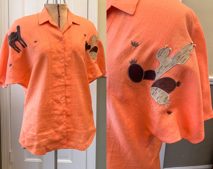 Vintage 1980s orange linen novelty blouse with appliqué camels and cactus, made by Fidelio, made in Italy, Size L