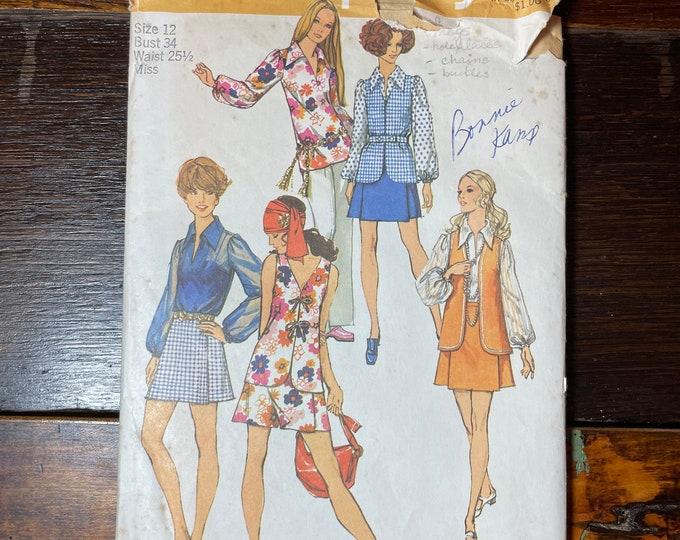 Vintage 1970s Simplicity sewing pattern 8694 for misses mini-pantskirt, blouse and vest, mod 2pc set, Size 12