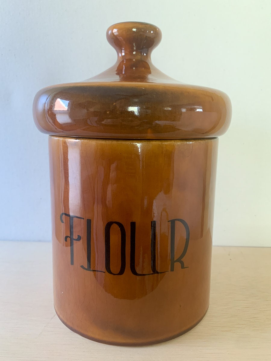 Vintage 1950s Mid Century Modern Brown Ceramic Flour Canister Or Cookie Jar