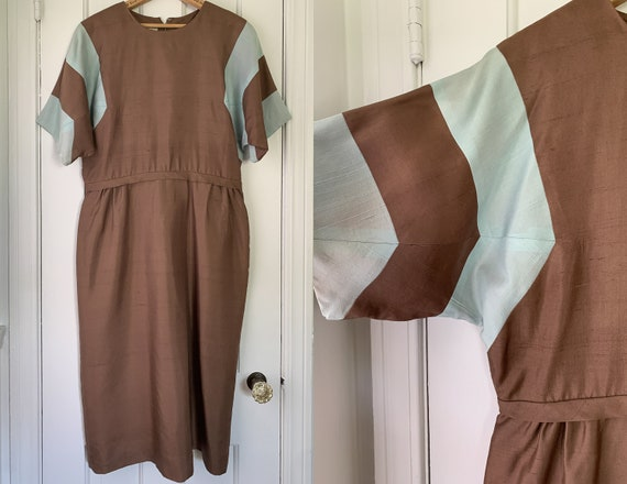 Vintage 50s 60s brown and baby blue color block dr