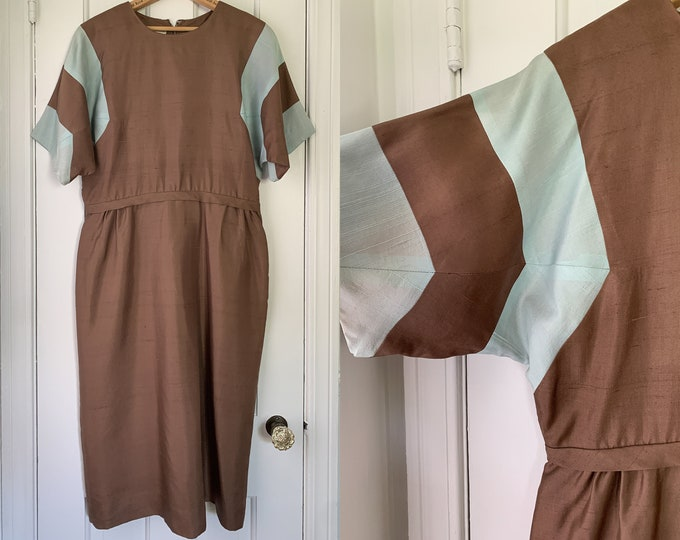 Vintage 50s 60s brown and baby blue color block dress, mid century career dress, made by Brief Originals, Size L