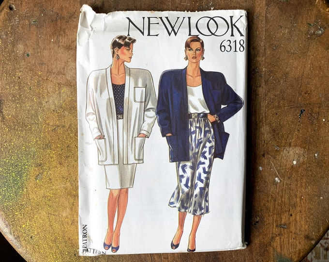Vintage New Look sewing pattern for misses boxy jacket, straight skirt and gathered skirt 6318   multi size pattern   Size 8 - 18