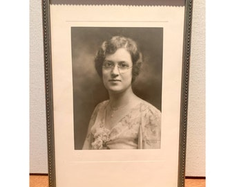 Vintage 20s 30s black & white framed photograph of woman with glasses