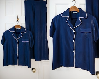 Vintage 50s navy blue summer lounging pajamas with high waisted wide legged bottoms, Lewis Frimel, Sz S