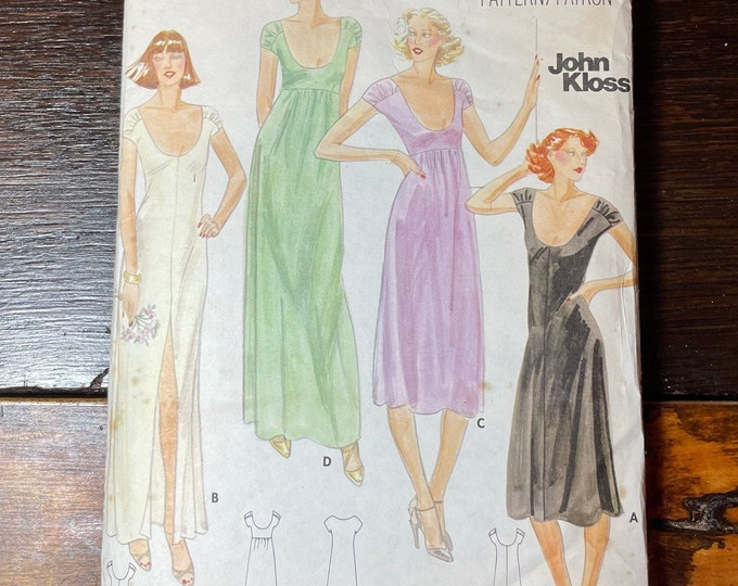 Vintage Butterick sewing pattern for John Kloss 5706, misses gown, Size 8