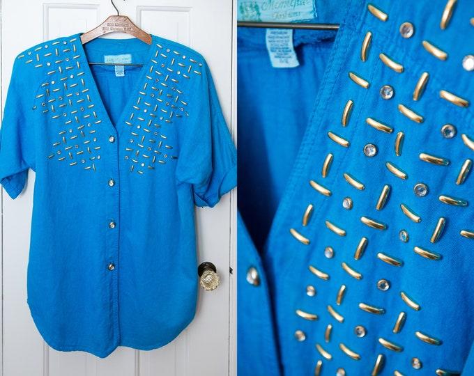 Vintage 80s blue embellished tunic blouse with rhinestones, Monique Fashion, Size M/L