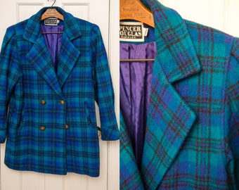 Vintage 1980s blue and green plaid winter jacket or car coat, Sz M