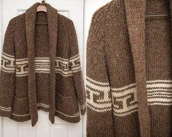 Vintage brown cardigan sweater with shawl collar, sweater jacket, Size L/XL