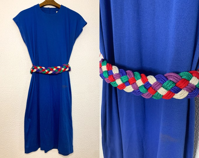 Vintage blue knit dress with cap sleeves and colorful braided belt, by  Around Town, Sz M/L