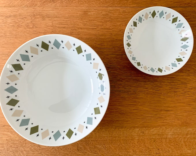 "Vintage 1950s 2pc Norleans Mystic China Pattern 9"" & 6"" bowls, MCM dinnerware, atomic starburst china"