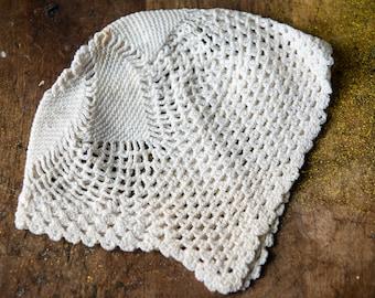 Vintage handmade crocheted baby bonnet for newborn or baby doll
