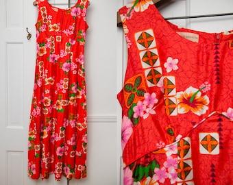 Vintage 1970s red Hawaiian print maxi dress, polynesian print sleeveless dress, Royal Hawaiian, Size M
