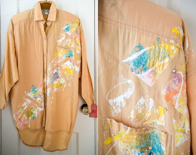 Vintage 80s handpainted long sleeve button down tunic blouse, Linda Bresler Exclusives, Size S/M
