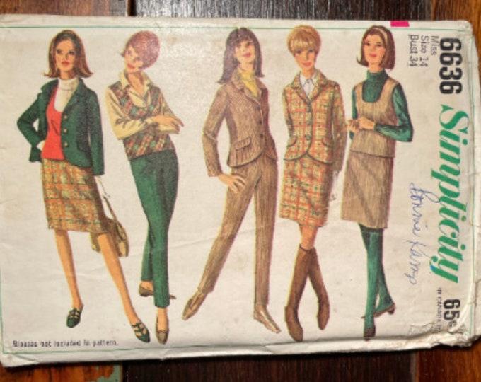 Vintage 1960s Simplicity sewing pattern 6636 for misses jacket, top, skirt and slacks Size 14