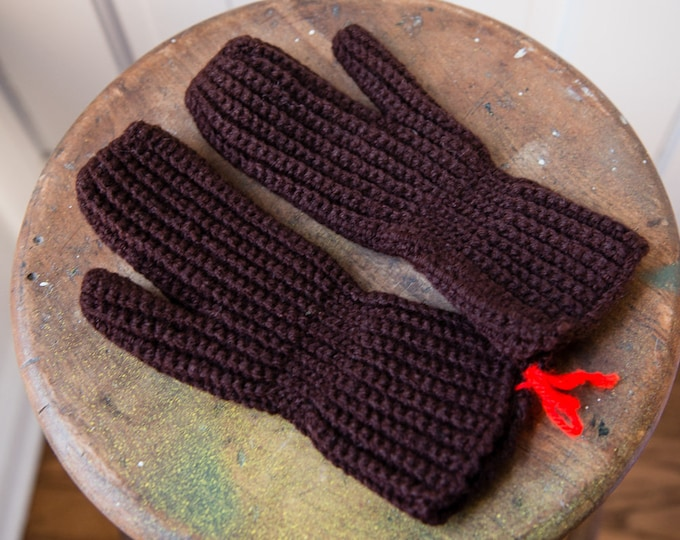 Vintage hand-crocheted handmade winter mittens in green, brown and white