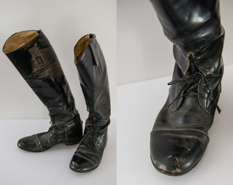 Vintage black leather equestrian riding boots, well-loved & broken-in, Grand Prix, Service Riding Apparel, Sz 7.5
