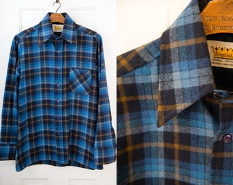 Vintage men's long sleeve wool blue plaid button down shirt, Kingsfield, Size S