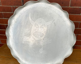 Vintage Halloween aluminum tray with devil image and ruffle edge
