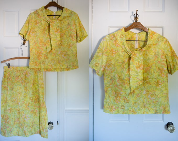 Vintage 60s 2pc yellow floral skirt and blouse set with bow/scarf neckline, Size M