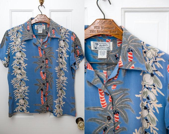 Vintage blue Hawaiian luau shirt with palm tree print, The Original Avanti, Made in Hawaii, Size L