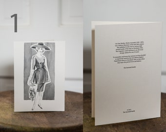 Greeting cards created from 1950s original artwork by fashion illustrator Shirley Isenstadt for Bailey's Department Store in Cleveland Ohio