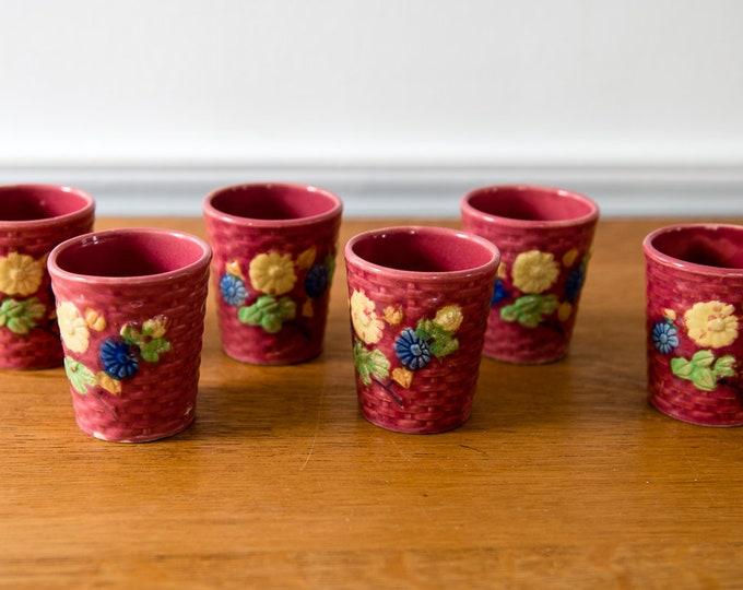 Vintage 6pc rose/pink handle-less tea cups with floral & basket weave design