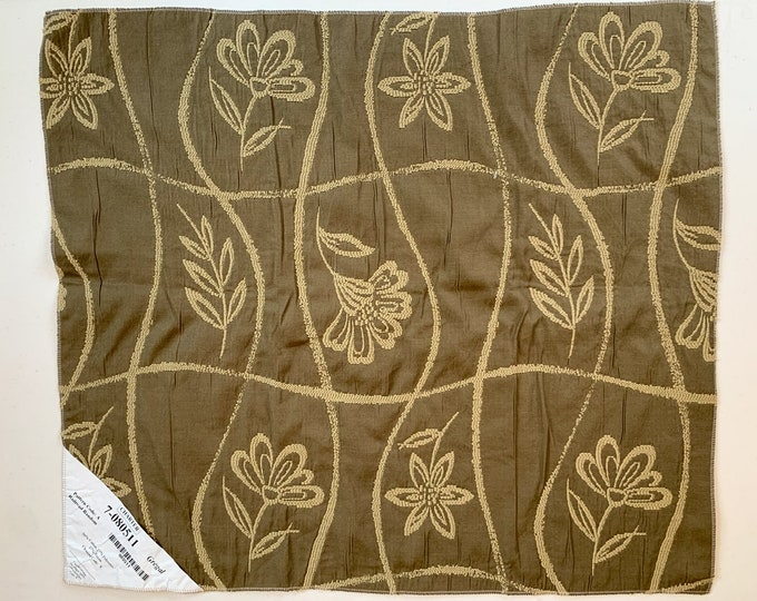 Four khaki green fabric swatches, moss green floral fabric, fabric for seat covers or pillows