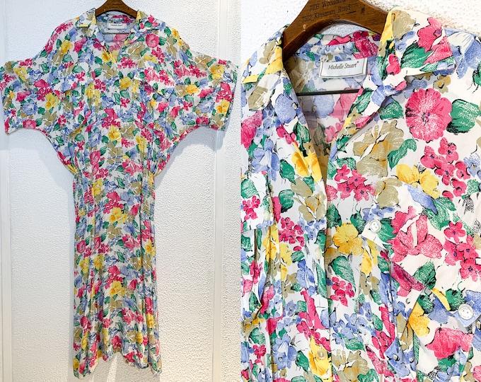 Vintage 80s short sleeve shirtwaist floral dress with blouson oversized top, Size M