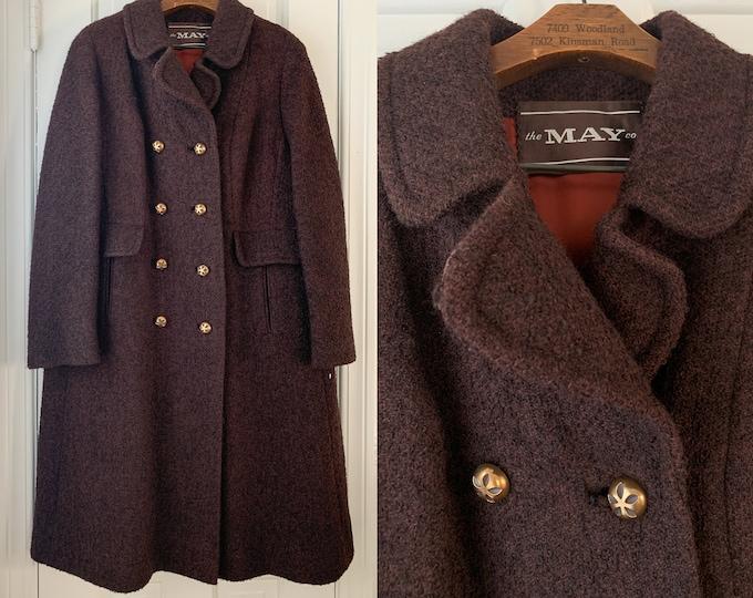 Vintage 60s Shagmoor brown winter coat, double breasted coat Sz L