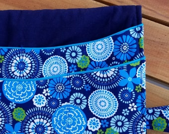 walker bag caddy organizer tote purse lots of pockets blue flower circles - Free Shipping