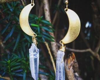 Crescent Moon Quartz Earrings