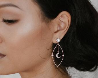 NEW! Zelda earrings -Moon crescent and star earrings - gold plated 18k dangle ear jacket - celestial crystal earrings rhinestone bridal