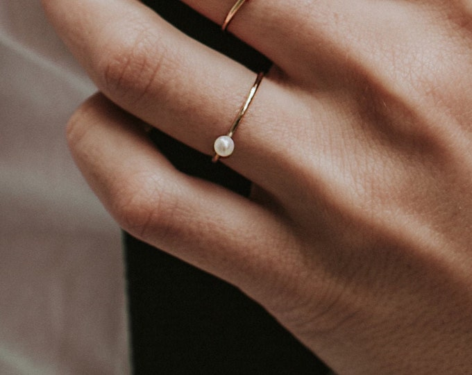 NEW! Baine ring - pearl ring  - gold filled 14k - pearl ring bridal