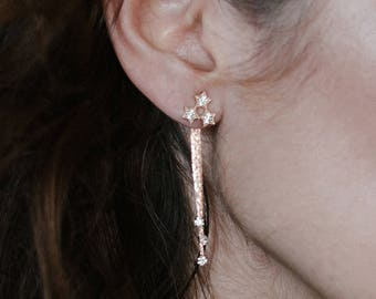 New! Geminides earrings - celestial shooting star earrings - constellation gold plated 18k dangle ear jacket -  crystal earrings bridal