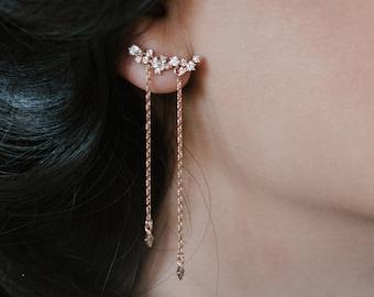NEW! Perseides earrings - shooting star earrings - gold plated 18k constellation ear jackets - celestial crystal earrings rhinestone bridal