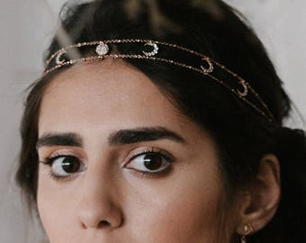 NEW! Selene headpiece - crystal star and moon hairpiece - moon phase jewelry gold plated 18k - celestial bridal tiara - Cosmic headband 1920