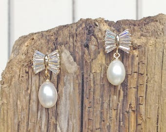 Gatsby pearls and Swarovski crystal earrings - Bridal 20s 1920s 1930s 1950s flapper - old hollywood glamour jewelry