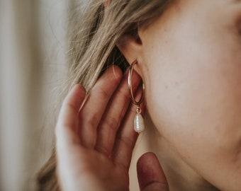 NEW! Uhin Earrings - keshi pearls vermeil hoops - minimalist baroque pearl earrings - bridal dangle earrings